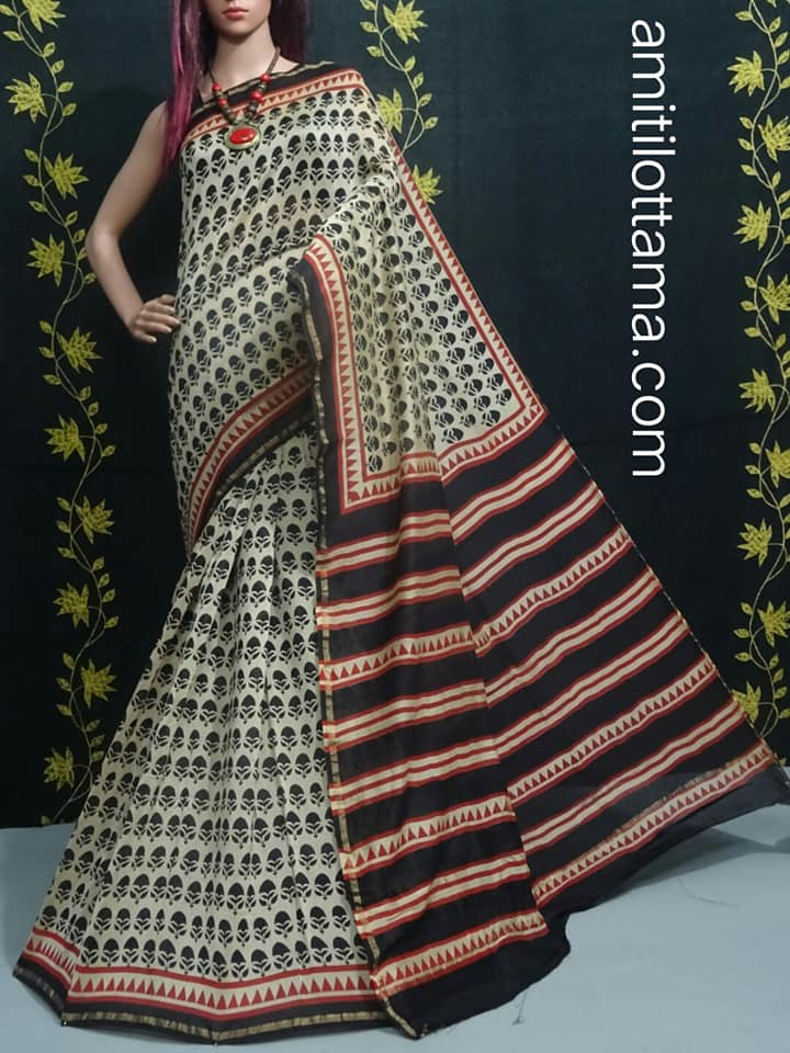 Handmade Bagru Off White Saree