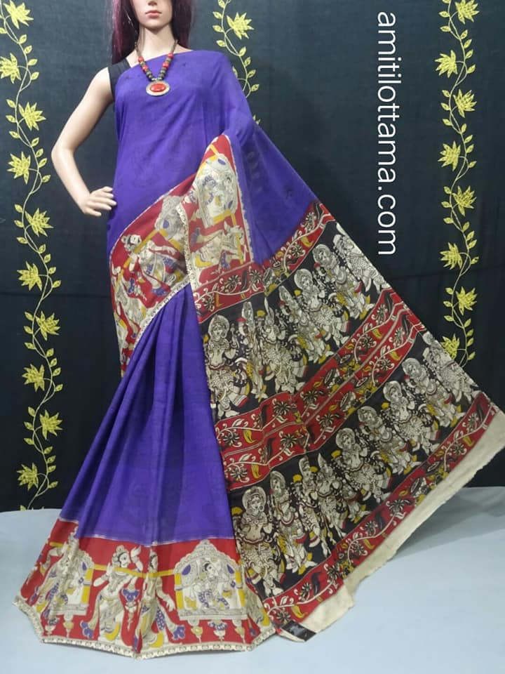 Dark Purple Silk Kalamkari | Very Soft & weather Friendly