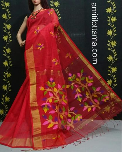Red Silk Linen Saree