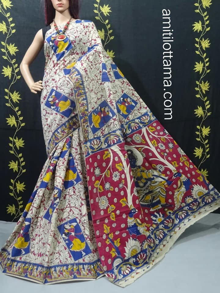 Entire worked Silk Kalamkari | Very Soft & Weather Friendly